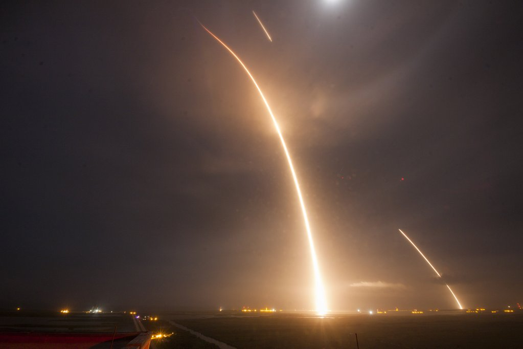 Long exposure of launch, re-entry, and landing burns.